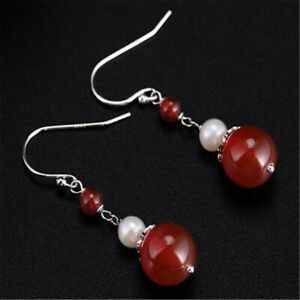 Natural Red agate Pearl Earrings Dangle Tibet silver Ms gift Christmas