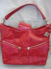 DOONEY & BOURKE RED CROC LEATHER MEDIUM CINZIA SHOULDER HANDBAG NWT $365.00