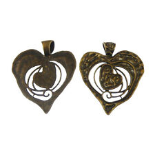 3pcs Antiqued Style Bronze Tone Love  Heart Charm Pendant Finding 04110