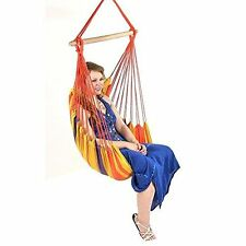 Hammock Chair Swing Patio Durable Hanging Rope With Cushions Seat Outdoor Garden