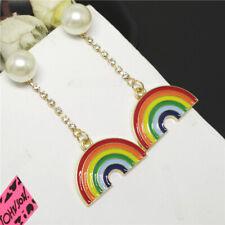 Betsey Johnson Color Enamel Cute Rainbow Pearl Crystal Women Stand Earrings