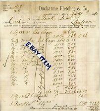 1880 Billhead DUCHARME FLETCHER & COMPANY Detroit Michigan HARDWARE STORE etc.