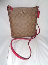 COACH 58309 SIGNATURE NS CROSSBODY SMALL HANDBAG KHAKI BRIGHT PINK SHOULDER BAG