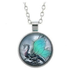 Dragon Cabochon Tibetan silver Glass Chain Pendant Necklace Vintage