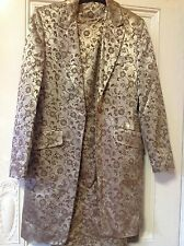 UK 10 gold with bronze pattern, fully lined, 2piece dress/jacket, worn onc