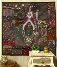 Vintage Wall Tapestry Cotton Hand Embroidered Patchwork Wall Hanging (Brown) 40""