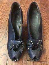 Vintage 40's Bullocks Collegienne Peep Toe Shoe - 7