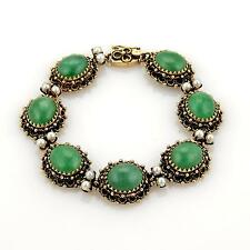 Antique Jade & Seed Pearls 14k Yellow Gold Oval Link Bracelet