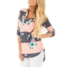 Women's Floral Print Colour Block V-Neck Cuffed Sleeve High-Low Hem Top Blouse
