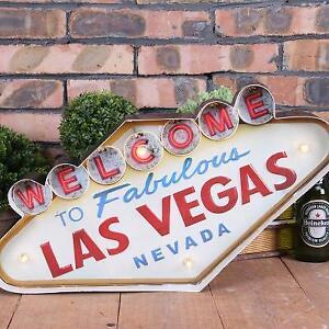Retro Tin Sign LED Light Welcome Las Vegas Nevada Casino Bar Club Decor Art Game