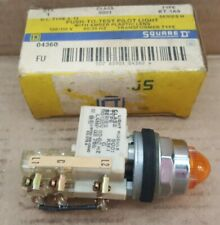 NOS Schneider Square D Push-to-Test Amber Pilot Light - 120V Transformer KT-1A9