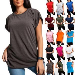 Womens Plain Baggy Oversized Tee Top Ladies Turn Up Cap Sleeve T Shirt