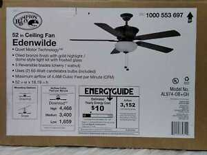 Edenwilde 52 in. Indoor Oil Rubbed Bronze Ceiling Fan w/Light Kit by Hampton Bay