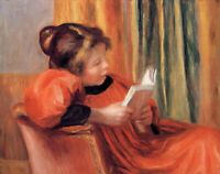 """perfect 36x24 oil painting handpainted on canvas""""girl reading""""N15328"""