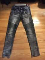 Men's Embellish Biker Denim Distressed Size 32 Streetwear Jeans Grey