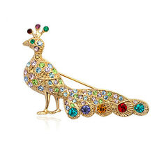 Multi-Coloured Cz/Austrian Crystal Peacock Brooch 18K Rose Gold Plated Genuine