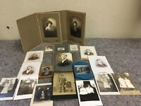Lot Of Antique And Vintage Photos In Lauding Hand Tinted Image Of Woman In Frame
