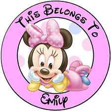 Personalized Baby Minnie Property Stickers for school books name tags labels #2