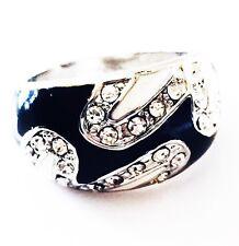USA RING Rhinestone Crystal Fashion Gemstone Silver Black White SIZE-8 05