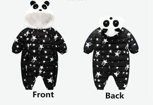 Baby Ski Snow Suit All-In-One Panda Fleece Water Repellant Black Snowsuit Size 0