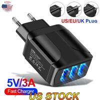 3 Port Fast Quick Charge QC 3.0 USB Hub LED Wall Charger Adapter UK EU US Plug