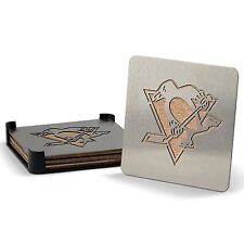 Pittsburgh Penguins NHL Stainless Steel Sportula Boasters - Set of 4 Coasters
