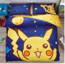 2017 New ポケモン Pokemon Pikachu Bedding Set 4pcs Queen King Size Cotton RARE