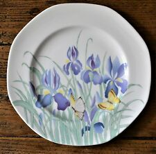 "Royal Worcester Lilac Iris Octagonal Plate 1984 8.75"" Butterfly Pattern"