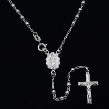 """Sterling Silver 2mm Plain Beads Complete Mystery Guadalupe Rosary Necklace 20"""""""