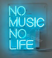 "New No Music No Life Neon Light Sign 14"" Acrylic Bedroom Windows Decor Handing"