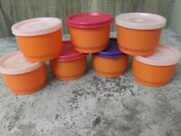 7 Vintage Tupperware Orange 4 oz Snack Cup 1229 w/  Seals Lids 297