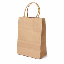 100 Pcs 5.25x3.75x8 Small Brown Kraft Paper Bags with Handle Shopping Gift Bags