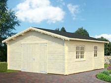 Garage Roger 18 Blockhaus Holzhaus Gartenhaus 560 x 560 cm 70 mm mit Holztor