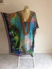 Gorgeous 100% Silk Crepe Crystal Embellished  Kaftan FREESIZE