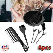 8pcs Pro Hair Dyeing Tool Highlights Comb Hair Clip Dyestuff Mixing Bowl Kit US