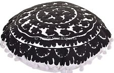 "16"" Round Vintage Uzbek Suzani Pillow Case Decorative Embroidered  Cushion Cover"