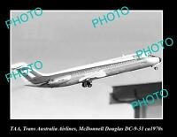 OLD LARGE HISTORIC PHOTO OF TAA AVIATION McDONNELL DOUGLAS DC-9 C1970s