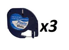 3 X 91201 de plástico blanco 12mm X 4m compatible con Dymo LETRATAG etiqueta de cinta S0721610