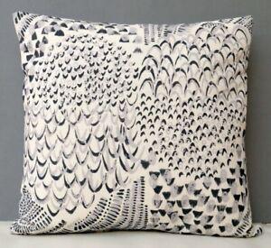 Imogen Heath Designer Cushion Cover Starling Feather Pattern Grey & Cream