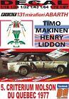 DECAL FIAT 131 ABARTH T.MAKINEN CRITERIUM MOLSON DU QUEBEC 1977 2nd (12)