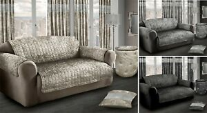 Crushed Velvet Furniture Slip Cover Protector Anti Slip Quilted Sofa Throw Cover