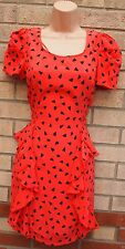 NEXT RED RUFFLE FRILL BACKLESS TUBE PENCIL HEART HEARTS PRINT RARE DRESS 6 XS