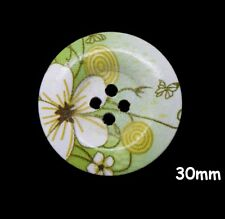 10 Large Wooden Round Flower Pattern Green Buttons 30mm Craft Sewing Bu1024