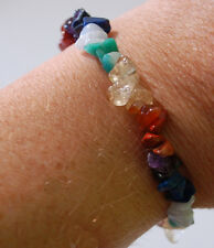 LOVELY HAND-MADE CHAKRA GEMSTONE CHIP BEAD CRYSTAL HEALING BRACELET
