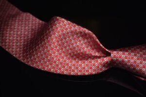 NWT Salvatore Ferragamo Made in Italy 100% Silk Tie Red Gancini Omega Ring NR #4