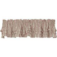 "Bella Stripe Triple Ruffle Country Cottage Unlined Window Valance 72"" x 14"""