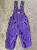 Vintage OshKosh B'Gosh Vestbak Solid Purple Corduroy Overalls Toddler 24 months