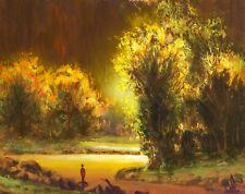 MAX COLE art oil painting landscape signed old antique vintage dutch sun 56087