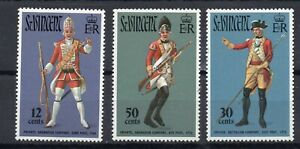 ST VINCENT STAMPS 1972  MILITARY UNIFORMS SG 337/9 MINT NEVER HINGED