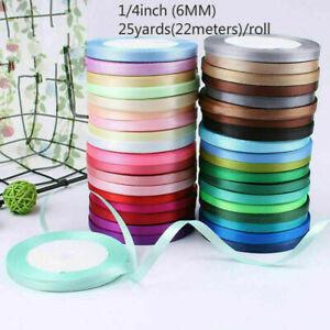 25Yard 6mm Silk Satin Ribbon for Wedding Party Decoration Ribbon 1PCS
